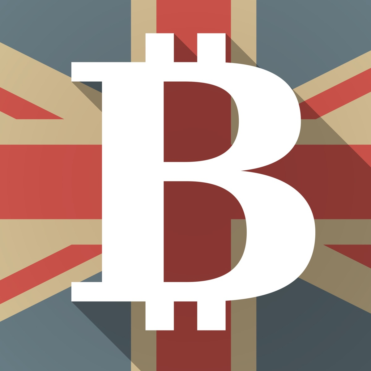 UK flag icon with a bitcoin sign